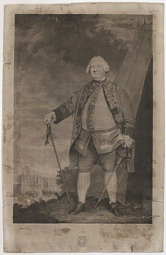 Stringer Lawrence - Stringer Lawrence, 1795 engraving of a portrait by Sir Joshua Reynolds (1723-1792), the original of which hung in Haldon House in 1832 now at  location unknown. National Portrait Gallery, London