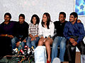 Sushil Kumar, Jwala Gutta, Leander Paes, Sreesanth on the sets of KBC 05.jpg