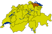 Map of Switzerland highlighting the Canton of Thurgau