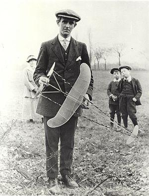 "Sydney Camm - Sydney Camm at Windsor Model Aeroplane Club, c. 1915 with ""twin-pusher"" style free flight model"