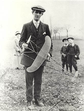 "Sydney Camm - Sydney Camm at Windsor Model Aeroplane Club, c. 1915 with ""twin-pusher"" style free flight model"