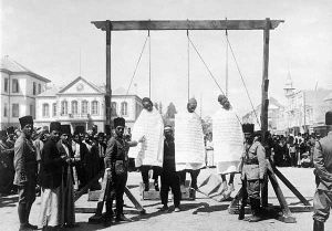 Human rights in Syria - Three Syrian rebels hanged in Marjeh Square during Syrian Revolt of 1925–1927