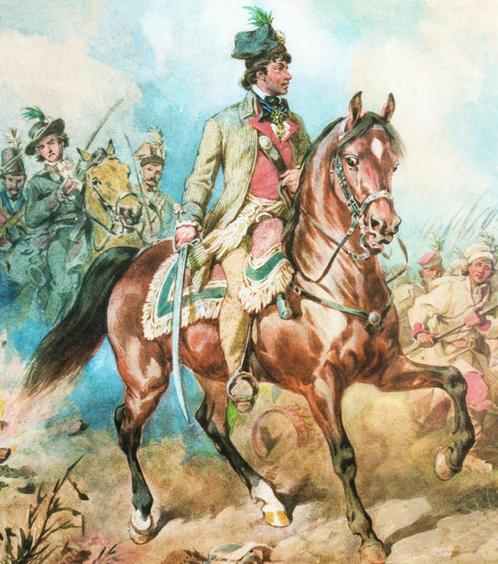 Archivo: Tadeusz Kośiuszko durante la batalla de Racławice.PNG
