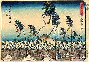 Tanabata - Japanese woodblock print of Tanabata festivities in Edo (Tokyo), 1852, by Hiroshige