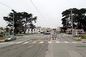 Taraval and Sunset station - Facing east at Taraval and Sunset in June 2017