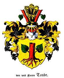 """Stammwappen des Adelsgeschlechts """"von Taube"""" (Baltisches Wappenbuch 1882) (Quelle: Wikimedia)"""