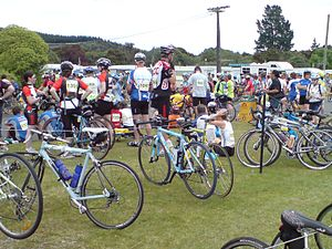 Lake Taupo Cycle Challenge - Relay riders waiting for their teammates (2007).
