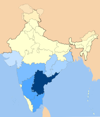Geographic distribution of Telugu immigrants in light blue, Telugu is native to dark blue. Telugu speakers in India.png
