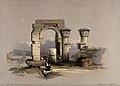 Temple ruins on the island of Biggeh, Egypt. Coloured lithog Wellcome V0049338.jpg