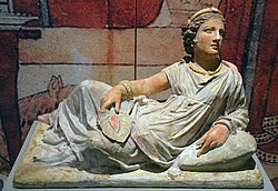 Terracotta sarcophagus in shape of an etruscan woman.jpg