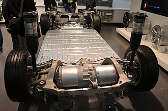 Tesla Model S - Model S chassis with powertrain and battery pack