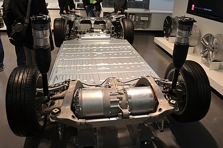 Tesla Model S chassis with drive motor Tesla Motors Model S base.JPG