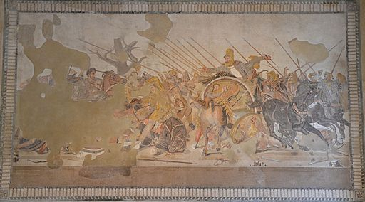 The Alexander Mosaic depicting the Battle of Issus between Alexander the Great & Darius III of Persia, from the House of the Faun in Pompeii, Naples Archaeological Museum (15045954695)