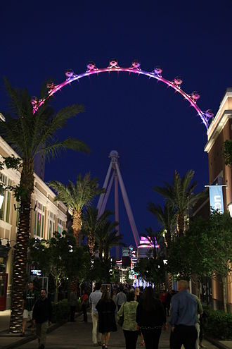 The Linq - The Linq Promenade with the High Roller in the background in 2014