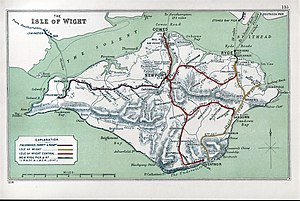 Carisbrooke railway station - A 1914 Railway Clearing House map of lines around The Isle of Wight.