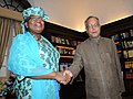 The Managing Director, World Bank, Ms. Ngozi Okonjo-Iweala calls on the Union Finance Minister, Shri Pranab Mukherjee, in New Delhi on May 12, 2011.jpg