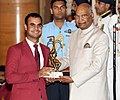 The President, Shri Ram Nath Kovind presenting the Arjuna Award, 2018 to Shri Shubhankar Sharma for Golf, in a glittering ceremony, at Rashtrapati Bhavan, in New Delhi on September 25, 2018.JPG