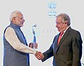 "The Prime Minister, Shri Narendra Modi being presented the ""Champions of The Earth"" award by the Secretary General of the United Nations, Mr. Antonio Guterres, at a function, in New Delhi on October 03, 2018.JPG"
