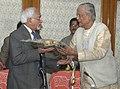 The Vice President, Mohammad Hamid Ansari being welcomed by the President, Asiatic Society, Prof. Biswanath Banerjee, in Kolkata on January 18, 2008.jpg