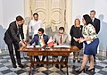 The Vice President, Shri M. Venkaiah Naidu and the President of Malta, Ms. Marie-Louise Coleiro Preca witnessing the signing of MoU between India and Malta on Maritime Cooperation, at San Anton Palace, Halbalzan, Malta.JPG