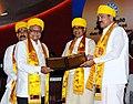 The Vice President, Shri M. Venkaiah Naidu conferring honorary degree to Shri Mahesh Srivastav, at the 3rd Convocation of Makhanlal Chaturvedi Rashtriya Patrakarita Avam Sanchar Vishwavidyalay, in Bhopal, Madhya Pradesh.JPG