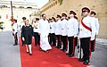 The Vice President, Shri M. Venkaiah Naidu inspecting the Guard-of-Honour with the President of Malta, Ms. Marie-Louise Coleiro Preca, at San Anton Palace, Halbalzan, Malta on September 17, 2018.JPG