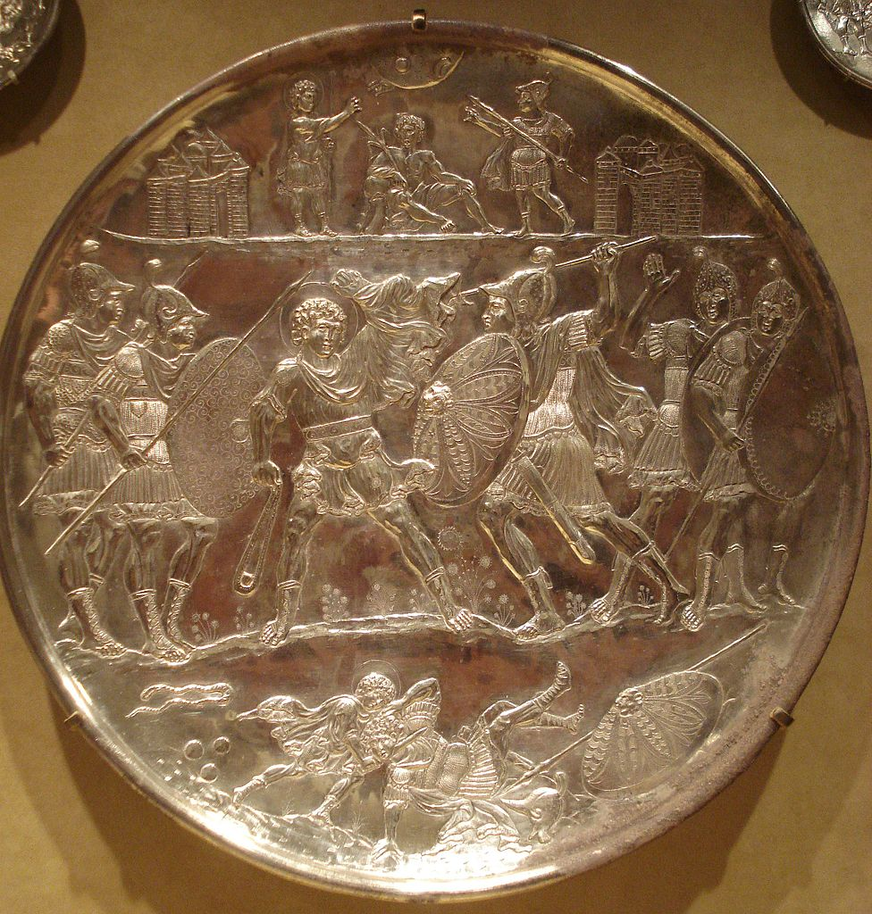 File:The battle of David and Goliath, silver plate ...