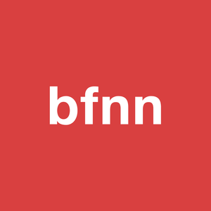 "Red square with the letters ""bfnn"" written across it in white."