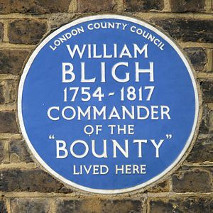 Blue plaque - London County Council plaque at 100 Lambeth Road, Lambeth, commemorating William Bligh (erected 1952)