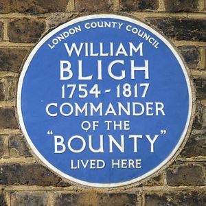 Blue plaque - London County Council plaque at 100 Lambeth Road, Lambeth, commemorating William Bligh (erected 1952)