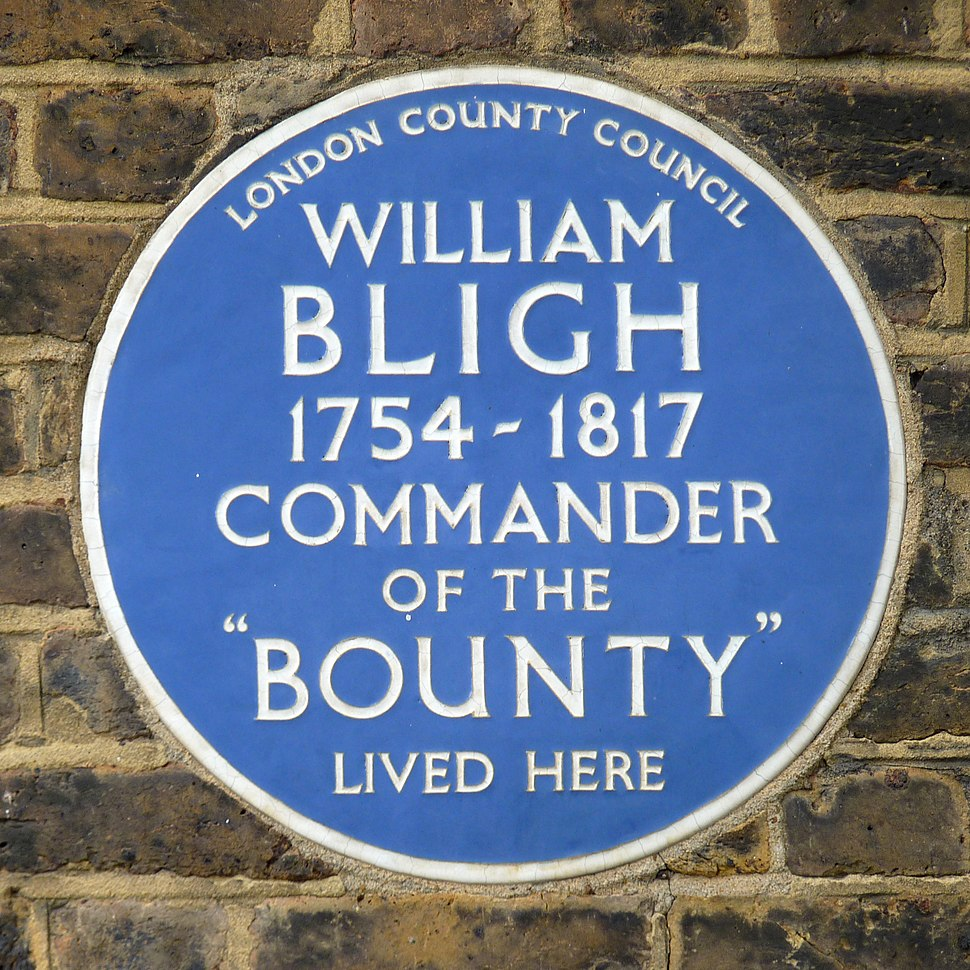 The blue plaque of William Bligh the commander of the Bounty