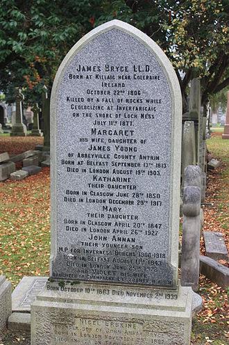 Annan Bryce - The grave of James Bryce, geologist, Grange Cemetery, Edinburgh