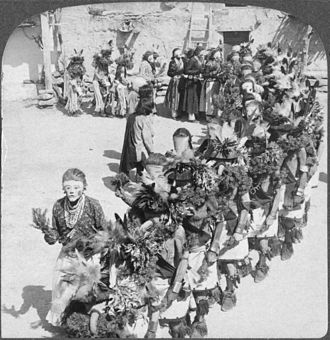 Kachina - Kachina dancers, Shongopovi pueblo, Arizona, sometime before 1900