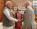 The special envoy of the Sultan of Oman, Foreign Minister, Mr. Yosuf Bin Alawi Bin Abdullah calling on Prime Minister, Shri Narendra Modi, in New Delhi. The Union Minister for External Affairs and Overseas Indian Affairs.jpg