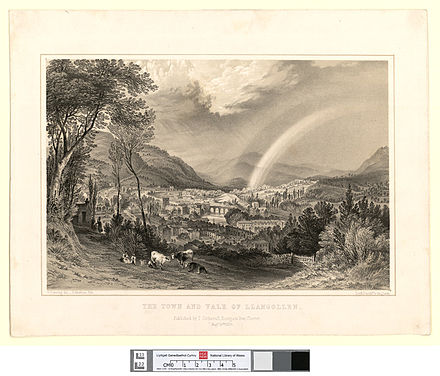 Llangollen in 1850 The town and vale of Llangollen.jpeg