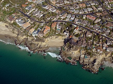 Low altitude aerial photograph for use in photogrammetry. Location: Three Arch Bay, Laguna Beach, CA. Three Arch Bay Photo Taken by pilot D Ramey Logan.jpg
