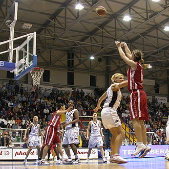 Three-point field goal - Sara Giauro shoots a three-point shot at the 2005 FIBA Europe Cup Women's Finals