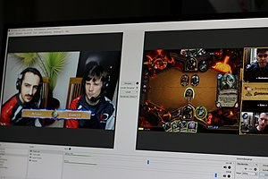 Digital collectible card game - Screenshot of players livestreaming Hearthstone, one of the leading games of the genre