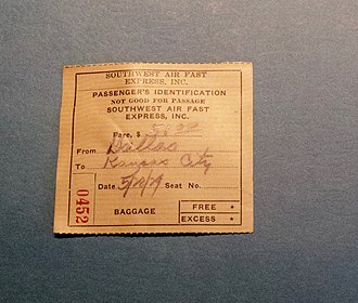 Southwest Air Fast Express - From family archives.  A stub documenting a flight from Dallas to Kansas City on short-lived airline Southwest Air Fast Express on May 28, 1929  Fare $51.00