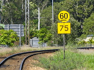 Cairns Tilt Train derailment - A speed board before a curved section of track; the boxed limit applies to Tilt Trains