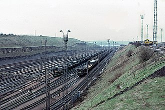 Rail freight in Great Britain - Tinsley Marshalling Yard in 1982, one of several large yards which never handled the large volumes of freight required to make them economical. The yard is now closed but a new cargo terminal opened nearby in 2011.
