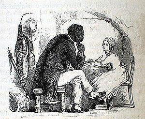 Uncle Tom syndrome - Illustration of Tom and Eva by Hammatt Billings for the 1853 deluxe edition of Uncle Tom's Cabin.