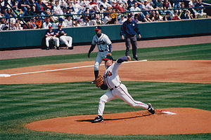 Tom Glavine - Glavine delivers a pitch in spring training, 1998