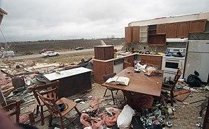 1996 Southern Ontario tornadoes - 21/04/1996 – Arthur, Ontario – Interior of destroyed house. Tornado struck night before