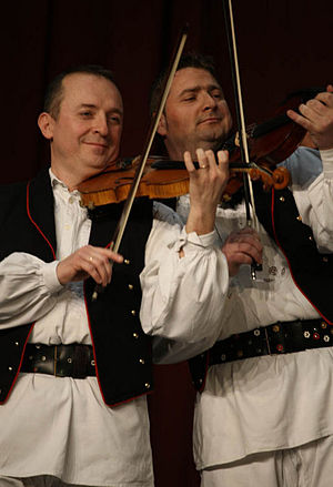 Music of Croatia - Traditional Croatian musicians play for Mrs. Laura Bush on April 7, 2008 in Zagreb.