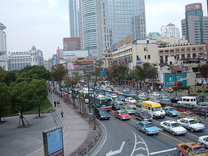 Traffic in the Huangpu District, Shanghai, China.