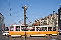 Tram in Sofia near Sofia statue 2012 PD 034.jpg