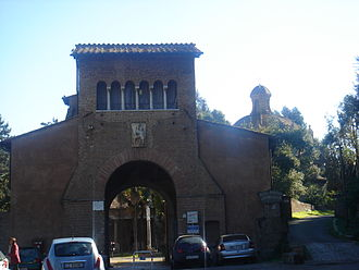 Tre Fontane Abbey - The Arch of Charlemagne at the abbey entrance