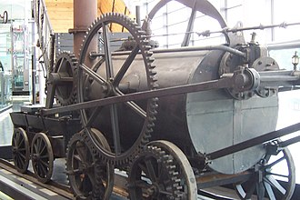 A replica of Trevithick's engine at the National Waterfront Museum, Swansea TrevithicksEngine.jpg