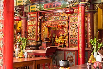 Religion in Malaysia - Inner hall of Ling San Temple, a temple of the Chinese folk religion in Tuaran, Sabah.